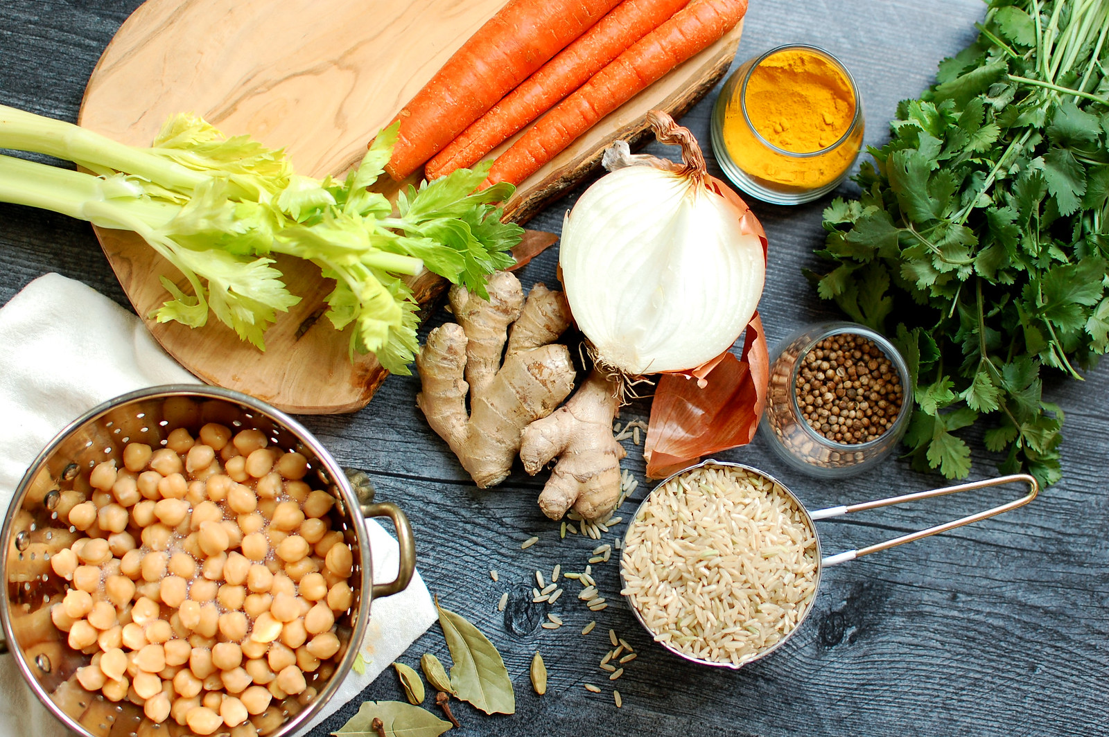kitchari ingredients onion carrots ginger rice chickpeas spices