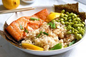 Japanese salmon edamame grain bowl