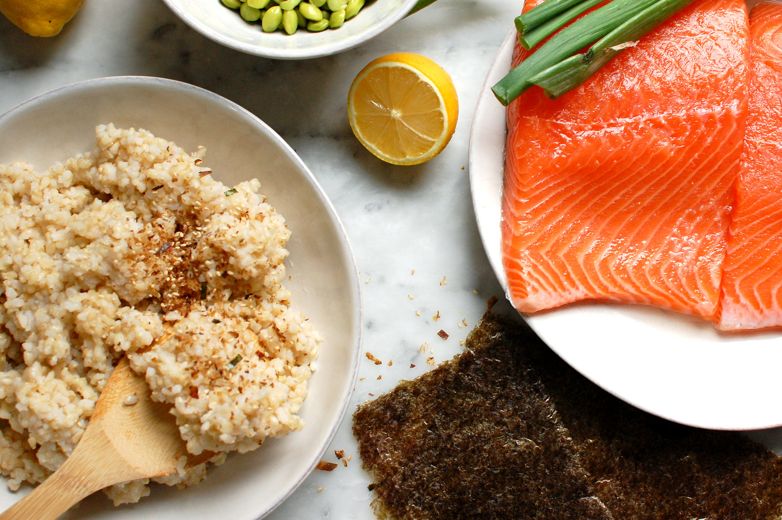 ingredients for salmon grain bowl rice furikake lemon nori