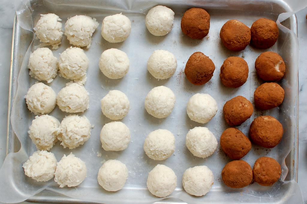 Irish potatoes candy balls on tray