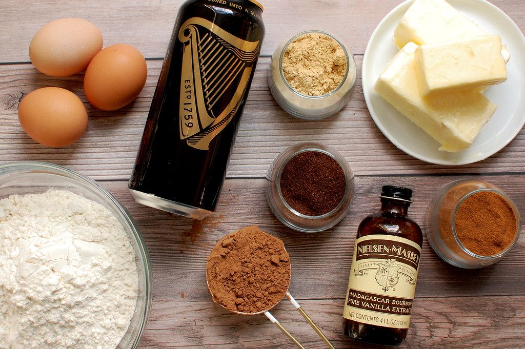 ingredients for stout cake on wood board