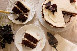 finished chocolate guinness stout cake with vanilla buttercream