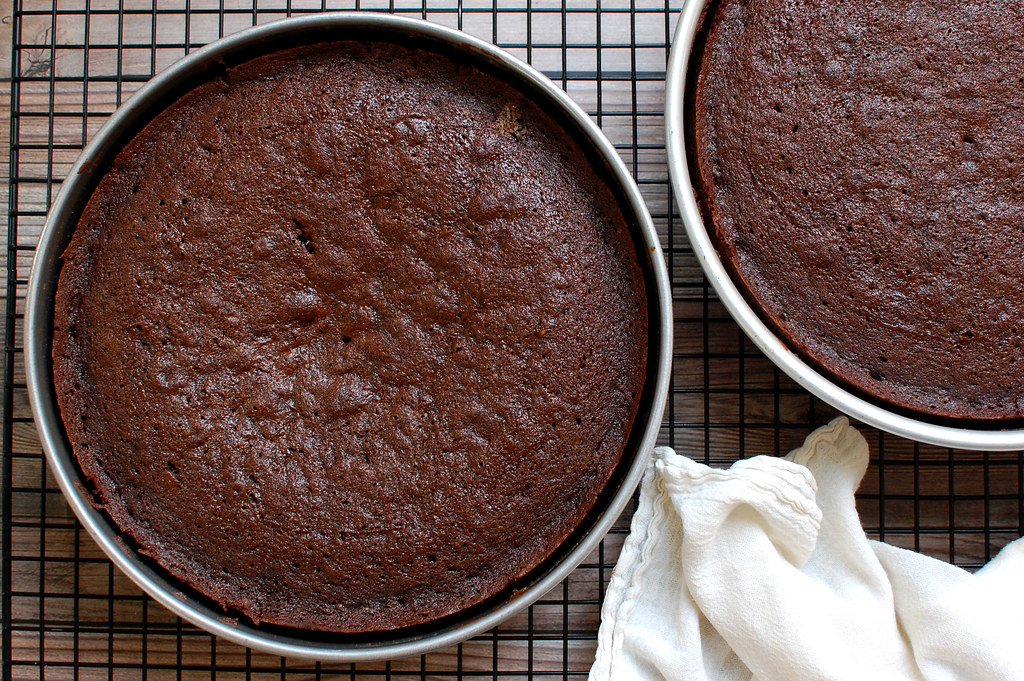 baked chocolate cakes on cooling rack