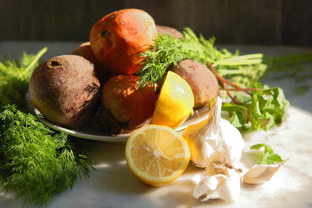 ingredients beets lemon garlic dill on plate
