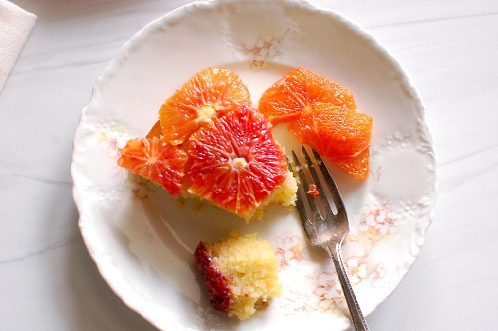 slice of French poached orange jewel cake