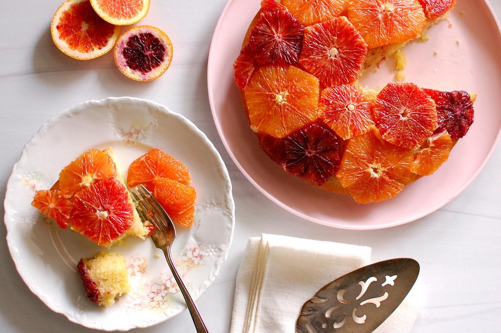 poached orange ginger cake on table sliced