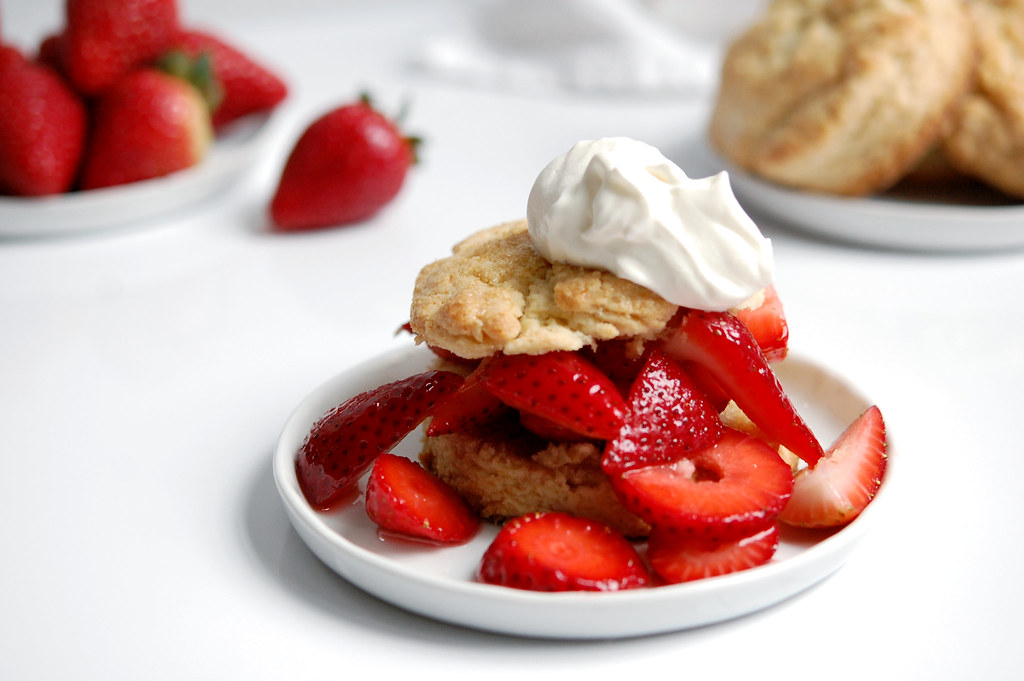 strawberry shortcake on biscuit with fresh whipped cream
