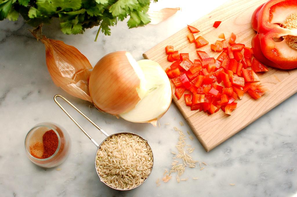 onion rice tomato cilantro