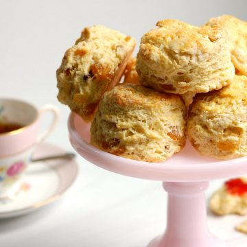 platter of English Royal scones with tea and jam