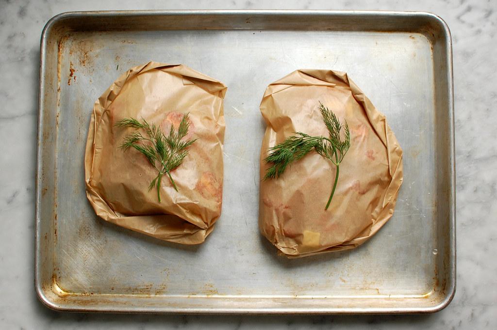 salmon inside parchment envelope before baking