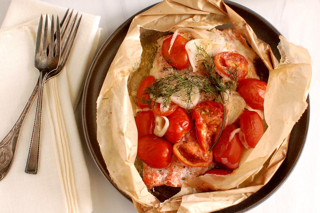 baked salmon en papillote in parchment envelope for dinner