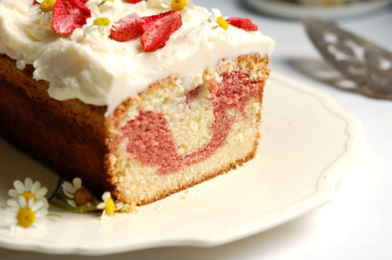 strawberry marble pound cake on table