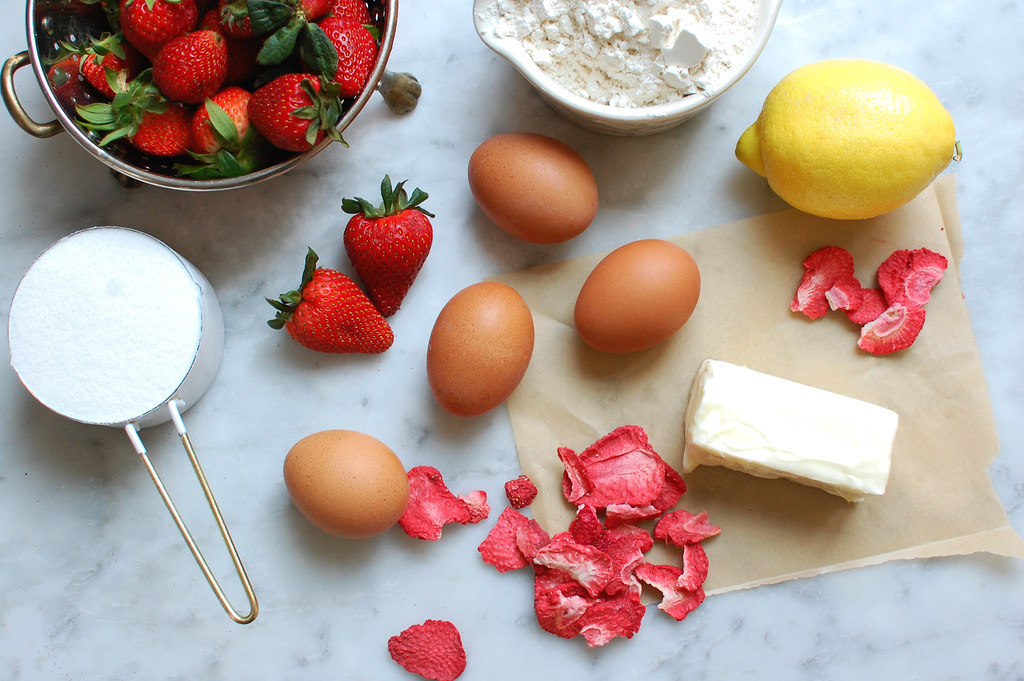 cake ingredients eggs butter lemon flour sugar strawberries