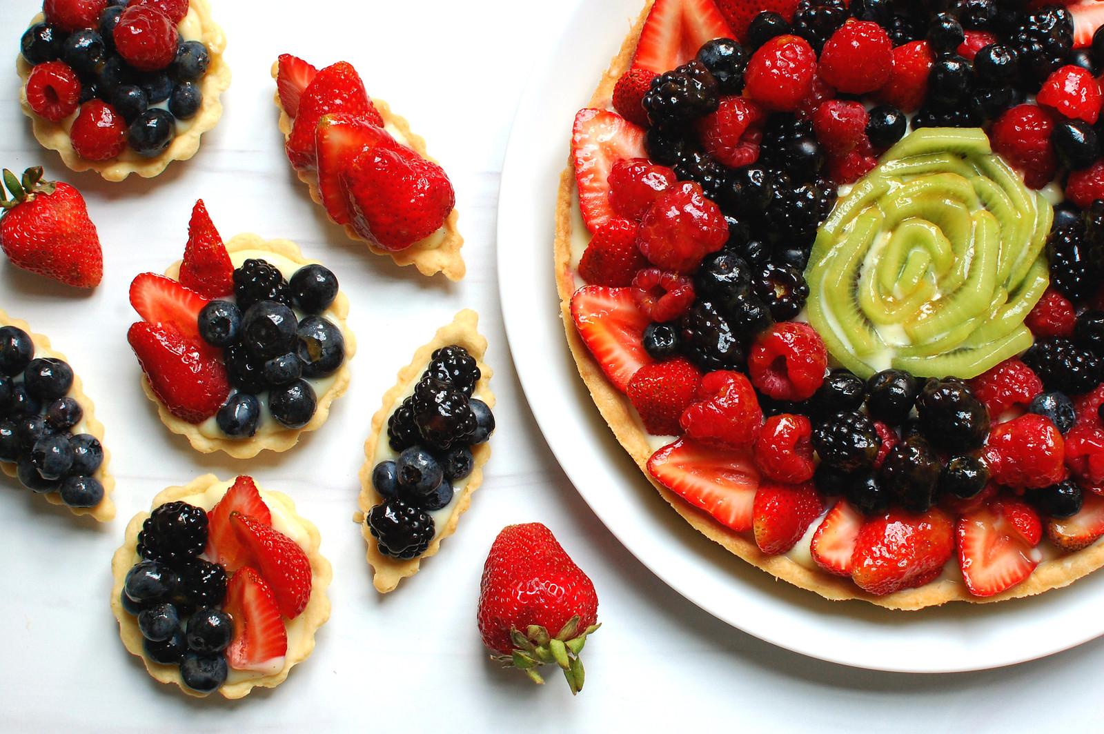 French Fruit Tart Recipe whole and mini tart