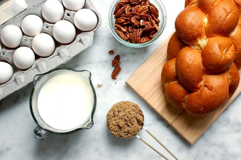 milk eggs brown sugar pecans bread ingredients