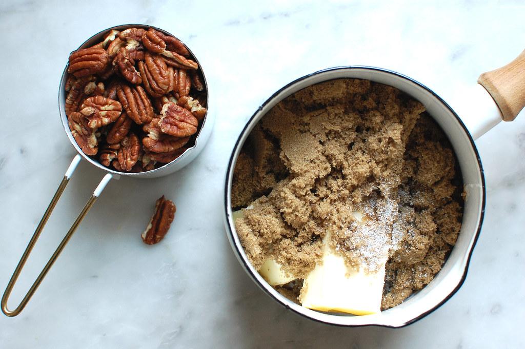 sticky bun topping ingredients butter sugar pecans