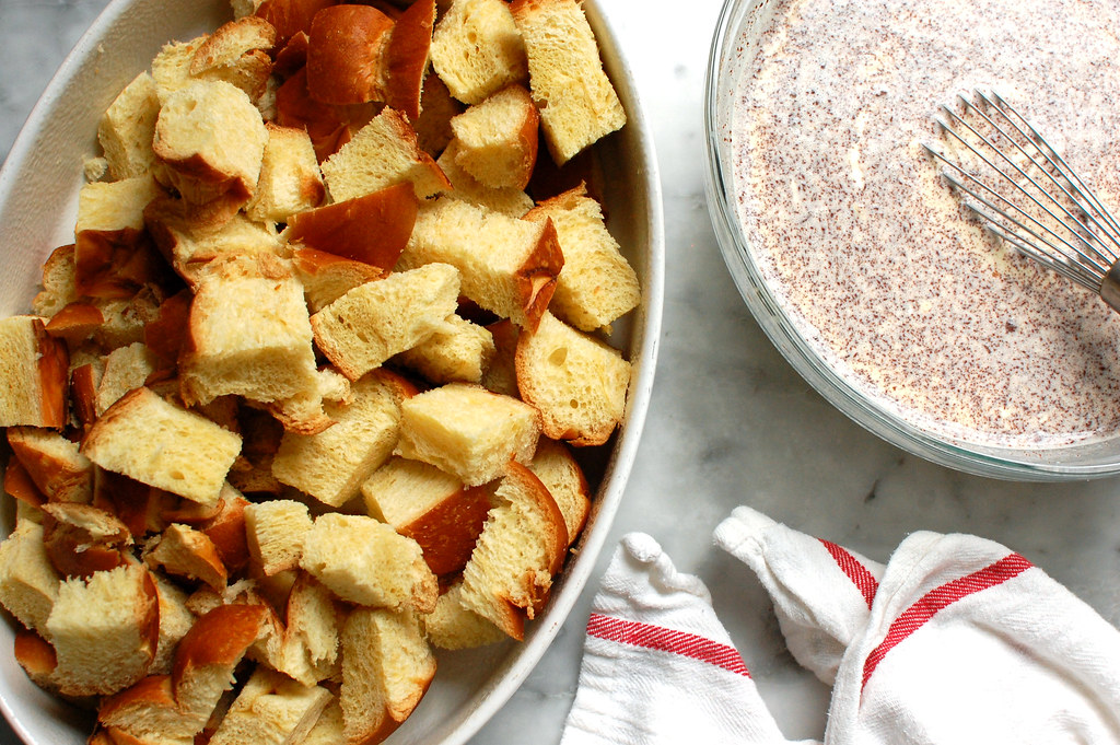 challah bread cubes with cinnamon custard for baked french toast
