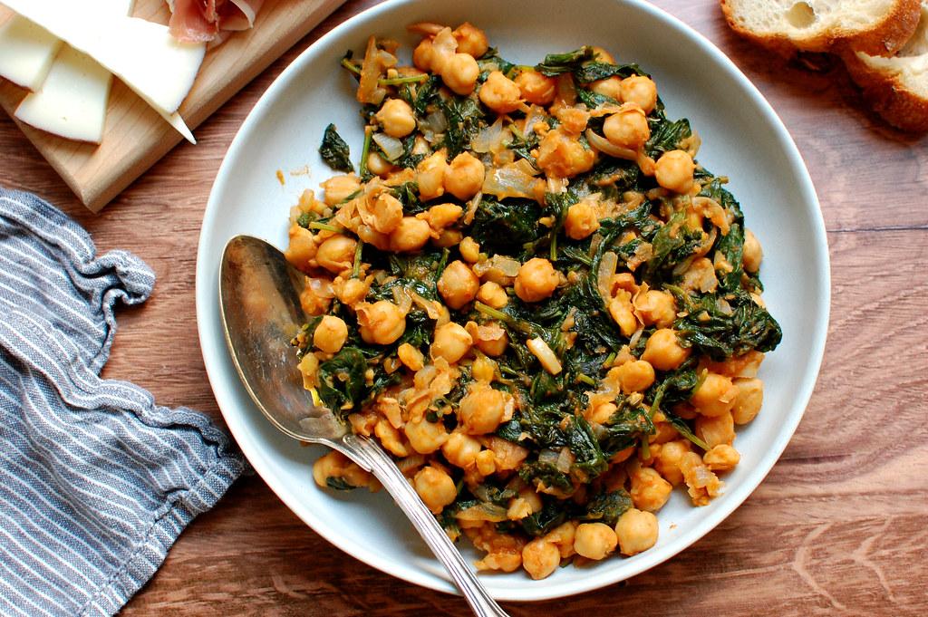 bowl of garbanzos and greens Spanish tapas