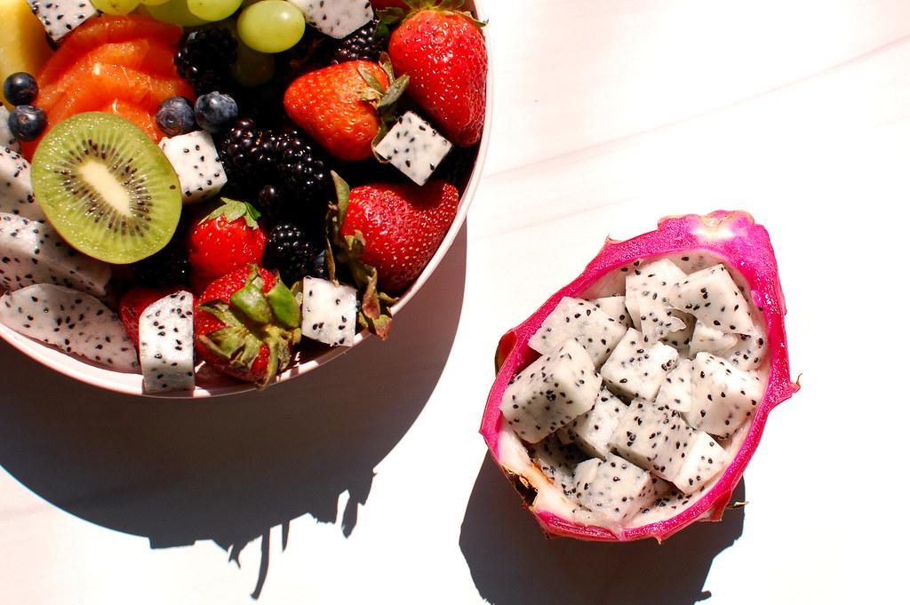 fruit salad bowl with ripe dragon fruit