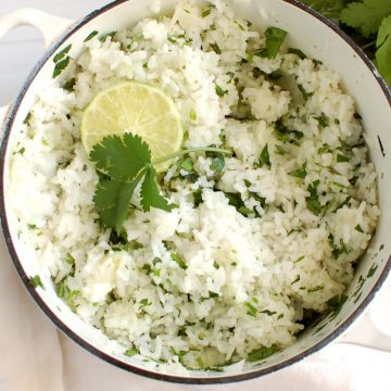 pot of Mexican cilantro rice with lime