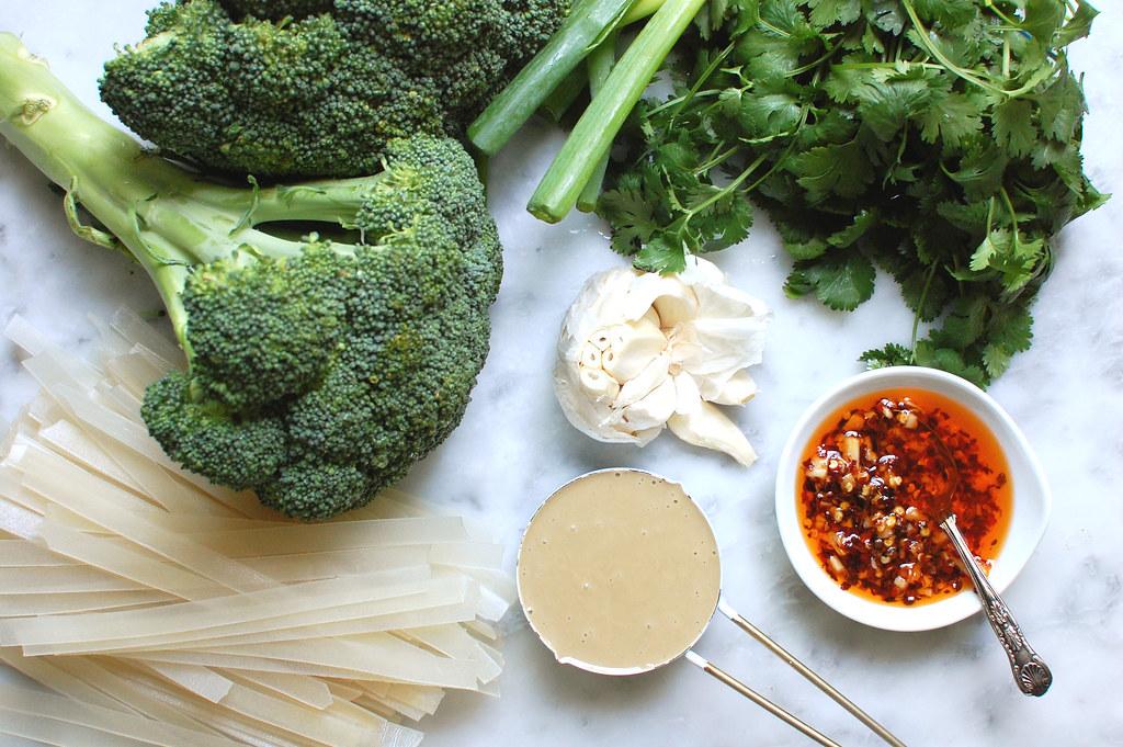 chili oil in bowl with broccoli