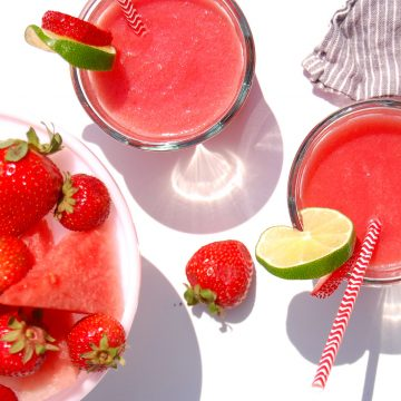glasses of healthy strawberry watermelon agua fresca drink