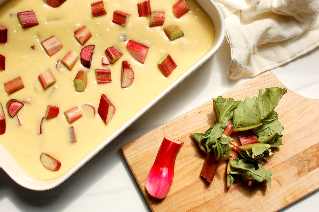 rhubarb cake batter with diced rhubarb