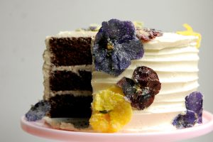 cake decoration of candied crystallized flowers pansies for cake