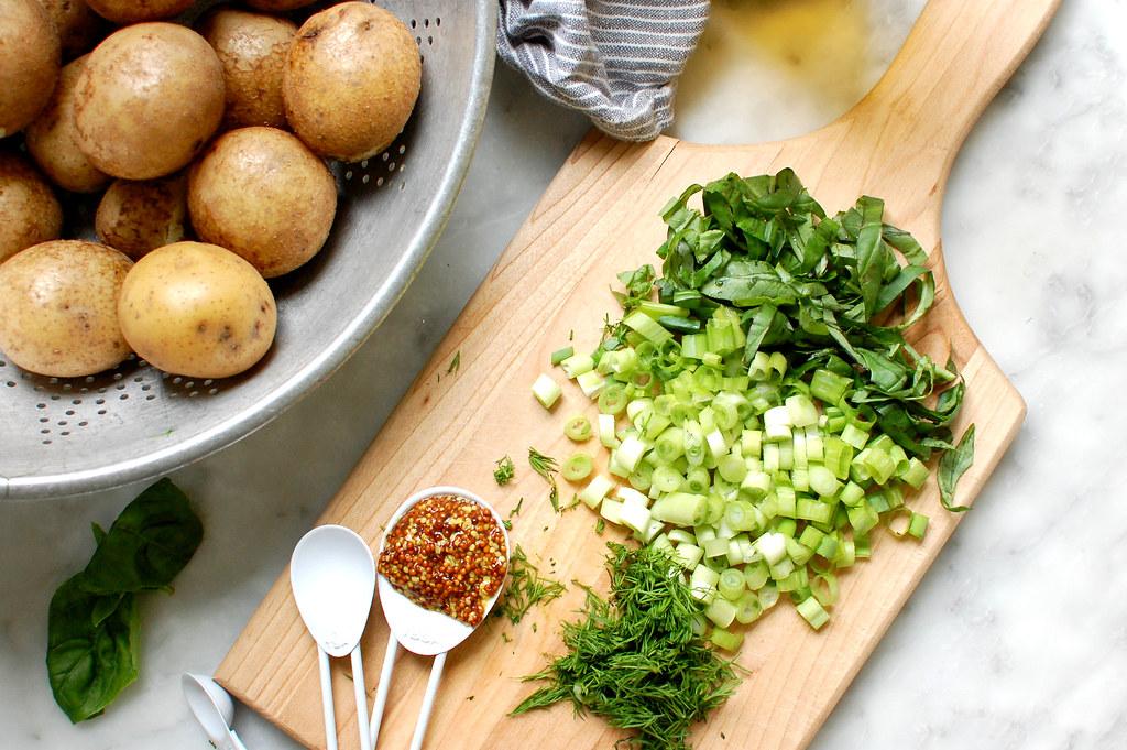 ingredients herbs mustard potatoes