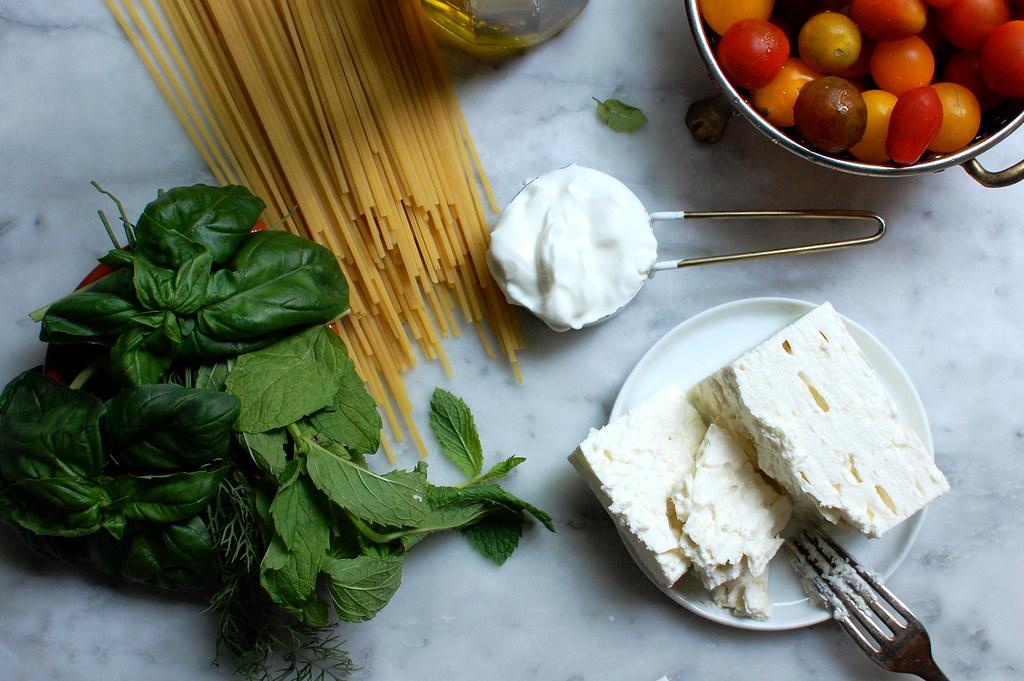 Creamy Feta Pasta With No-Cook Sauce