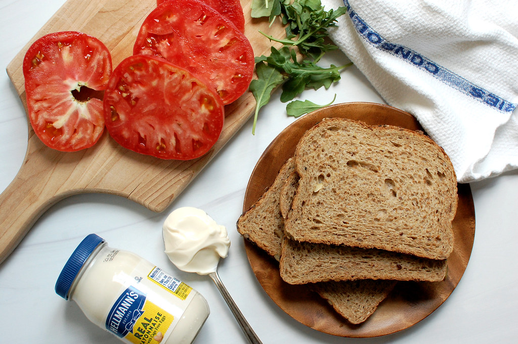 ingredients for a summer Southern tomato sandwich mayo tomato bread