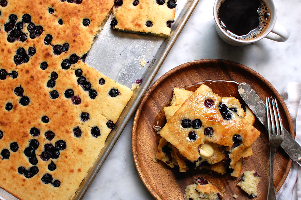 Easy Sheet Pan Pancakes With Blueberries