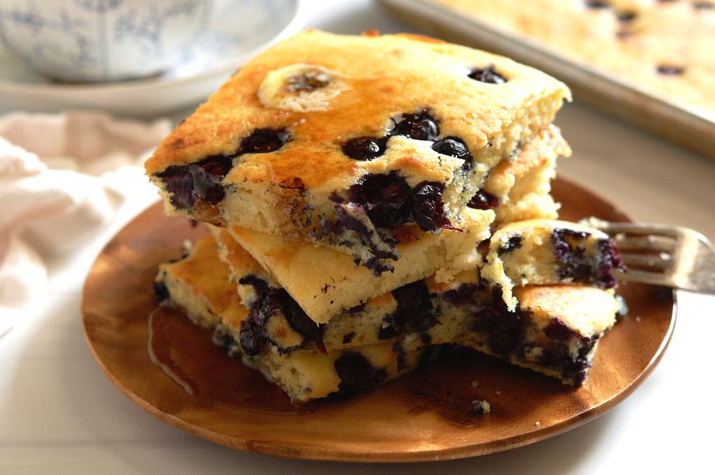 Easy Sheet Pan Blueberry Pancakes Recipe