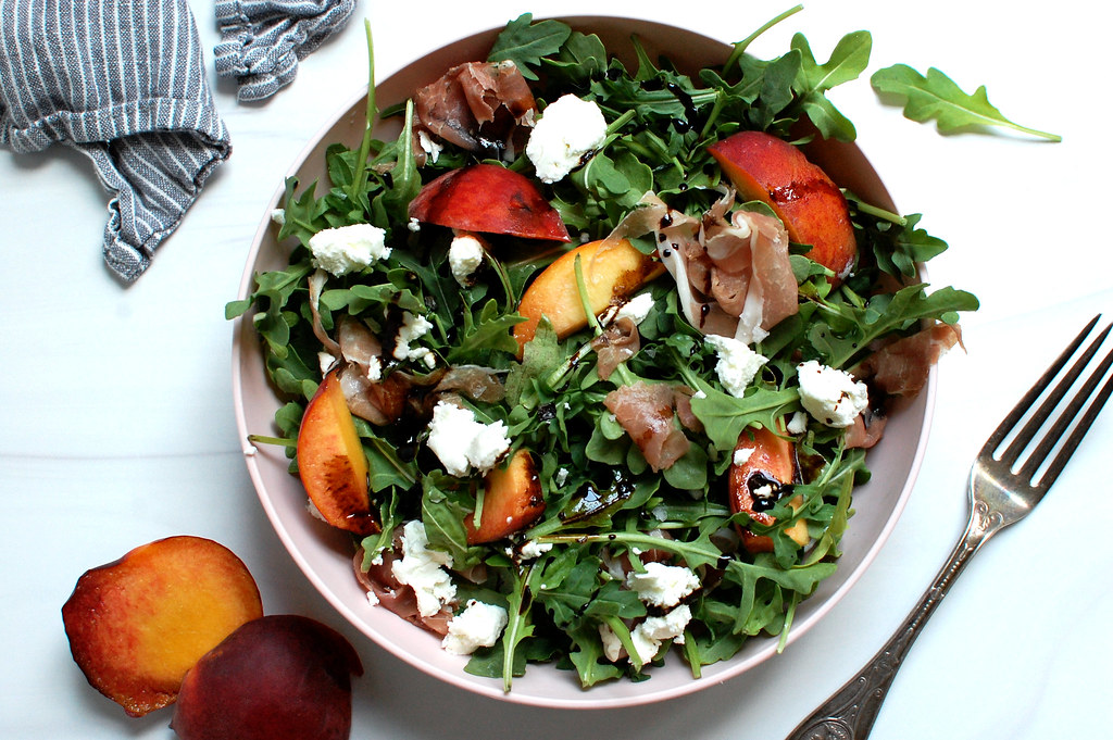 easy peach salad in bowl