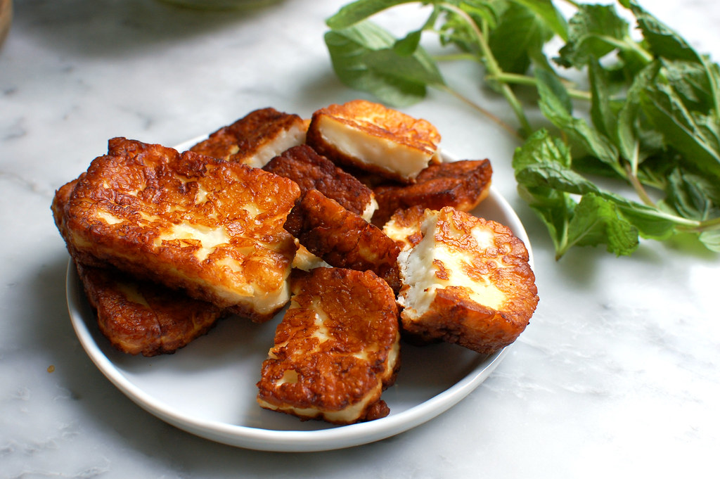 fried halloumi cheese with fresh herbs