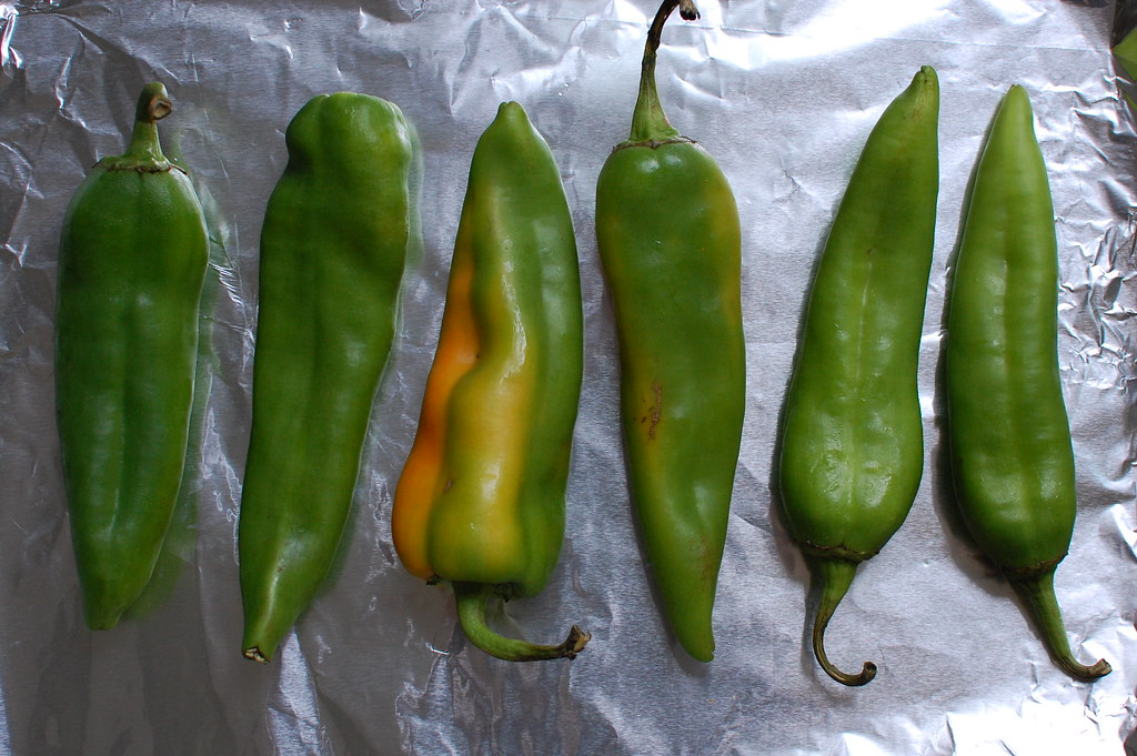Hatch chile peppers from New Mexico on baking sheet