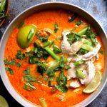 Thai Red Curry Chicken With Coconut Milk and Vegetables