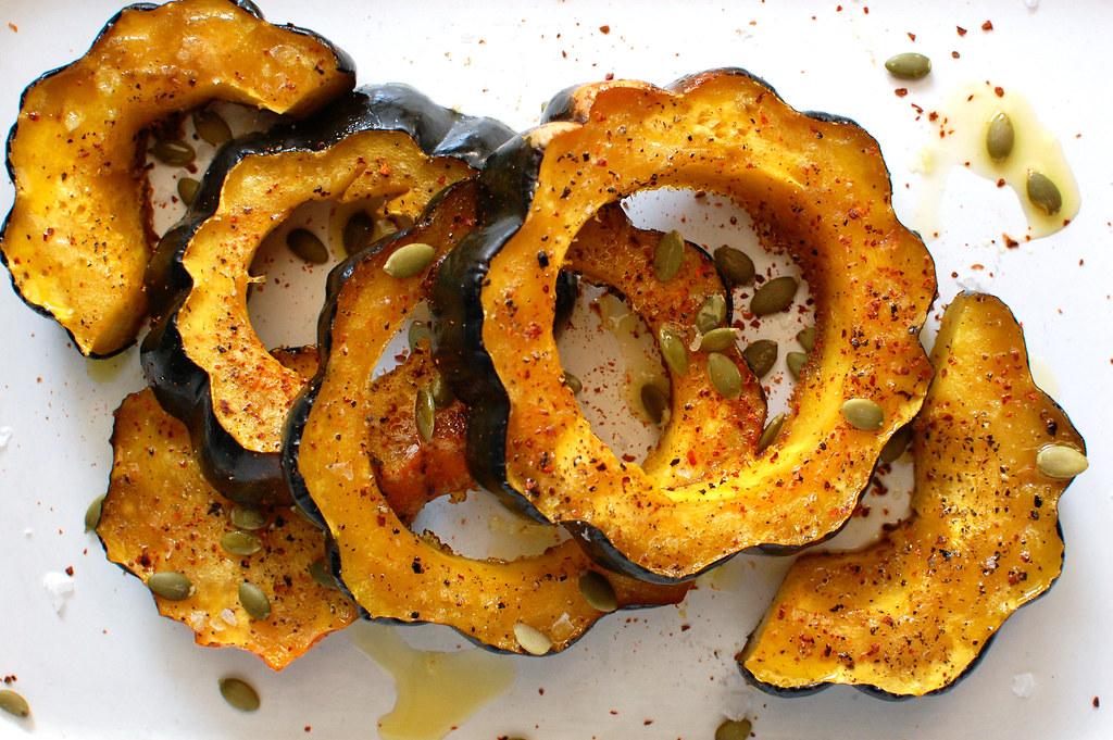 Roasted Acorn Squash on tray