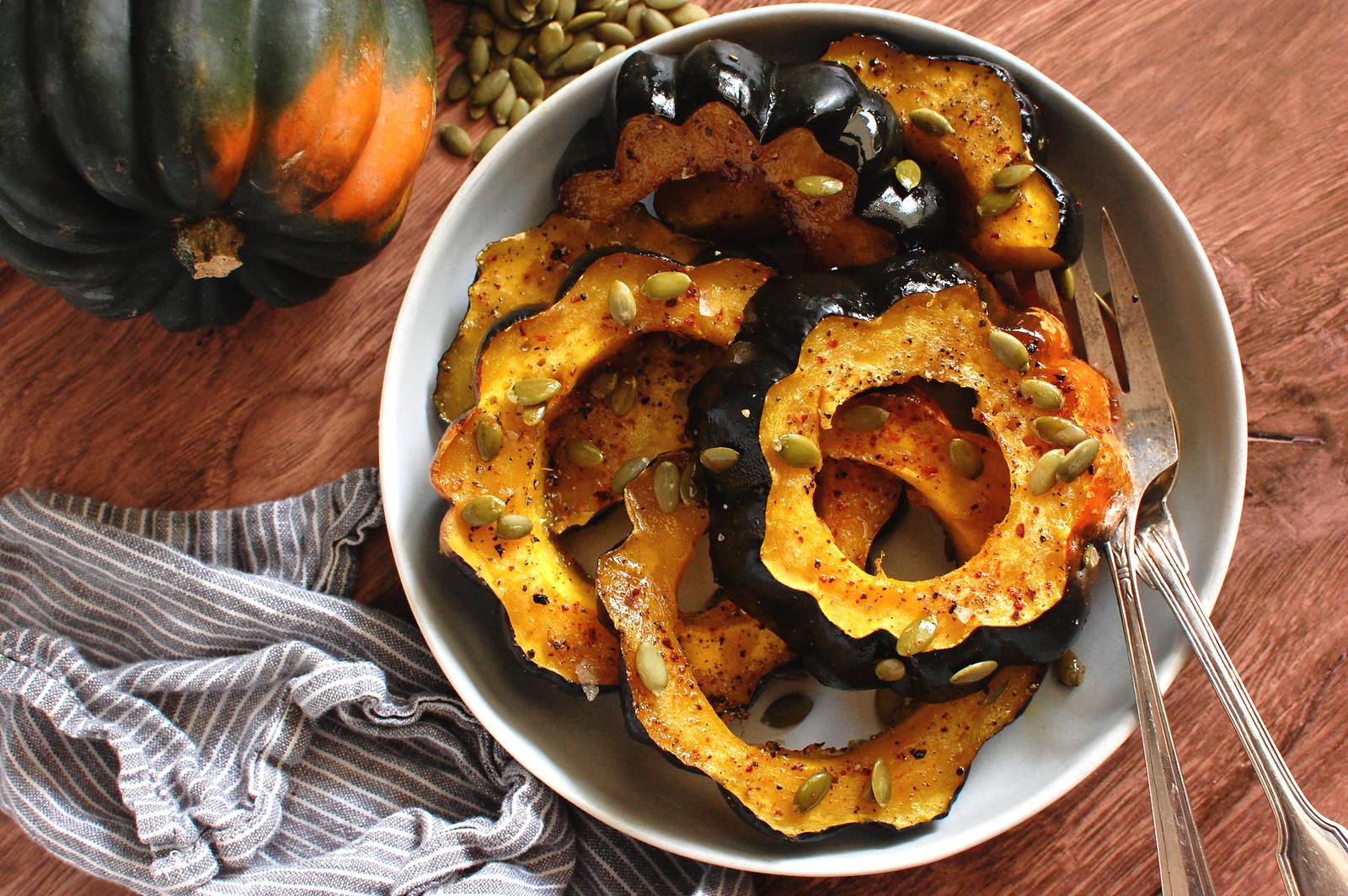 easy baked acorn squash rings on serving platter