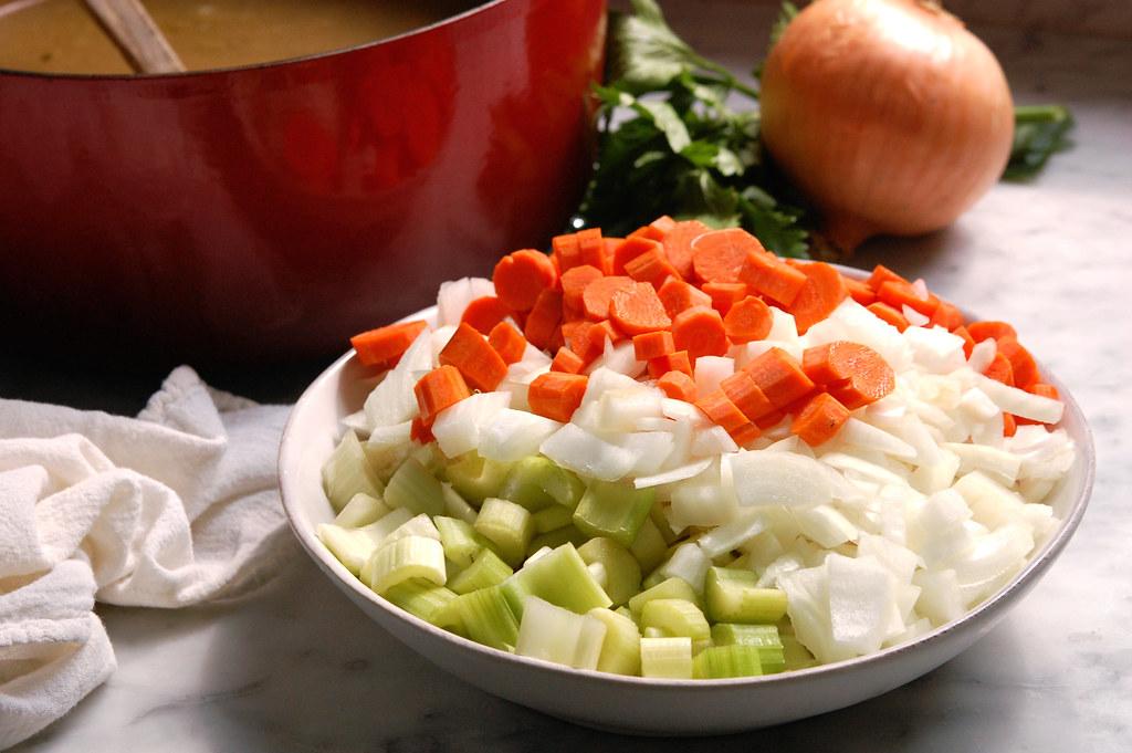 Vegan Italian Pasta e Fagioli Soup Recipe (Pasta Fazool) ingredients carrot, celery, onion, cannellini beans, rosemary, ditalini
